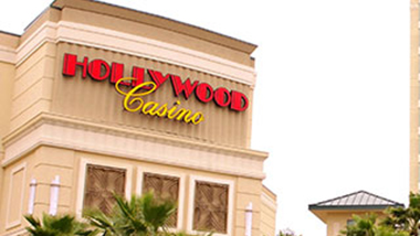 The Hollywood sign is seen outside the entrance to Hollywood Casino Gulf Coast in Mississippi.