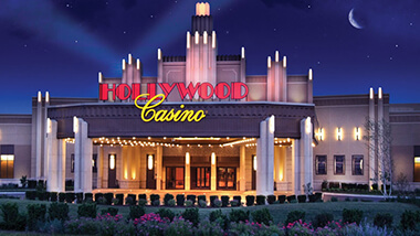 A nighttime view of the valet entrance to Hollywood Casino in Joliet, Illinois.