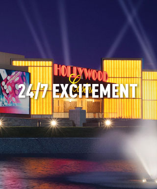 "Hollywood Casino Columbus with text ""24/7 excitement"""
