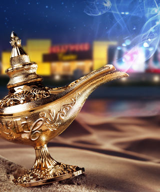 genie lamp with Hollywood Casino in the background 2