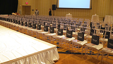 event center room stage and chairs