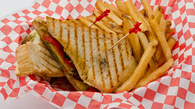 sandwich with fries in basket